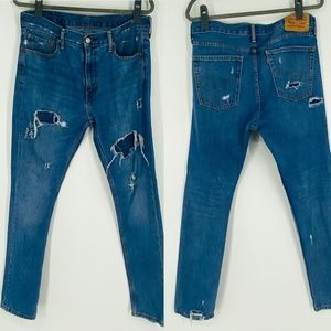 Levis Distressed and Patched 510 Skinny Jeans